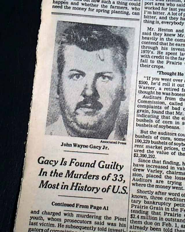 Image result for john wayne gacy convicted newspaper article