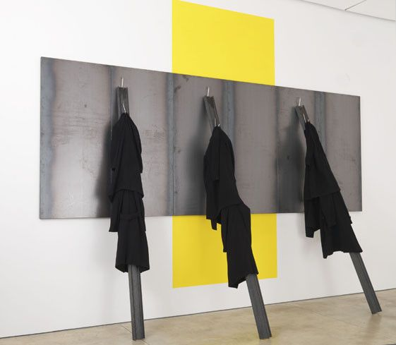 Jannis Kounellis-untitled-2013-steel-and-coats