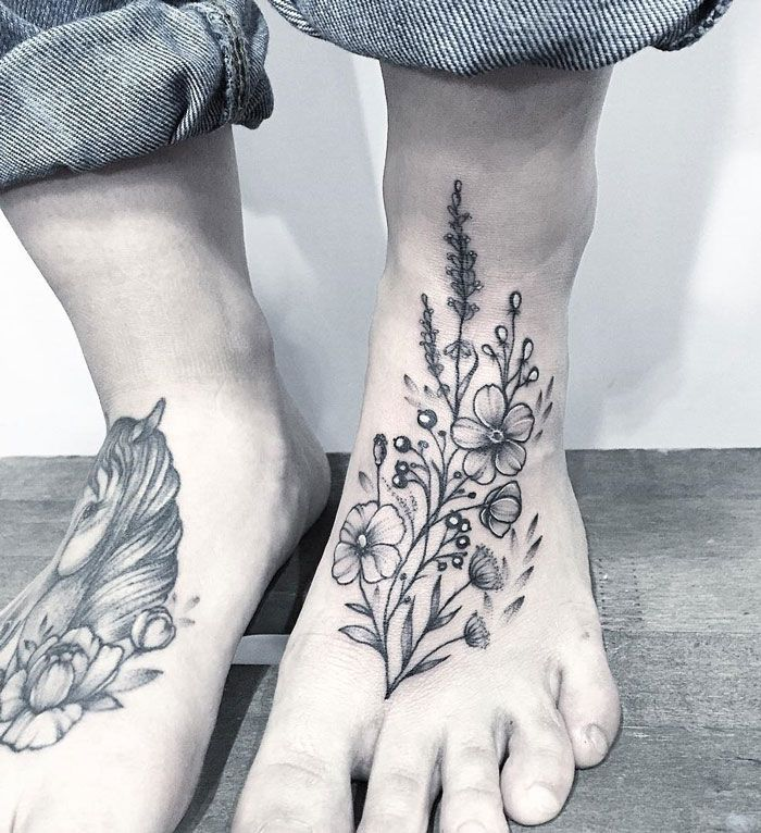 Floral Foot Tattoo