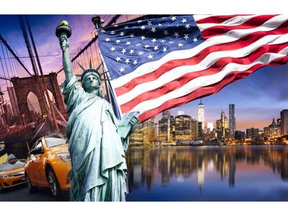 cuadro collage de USA con bandera americana y estatua de la libertad, impresion sobre lienzo de 3 cm de grosor
