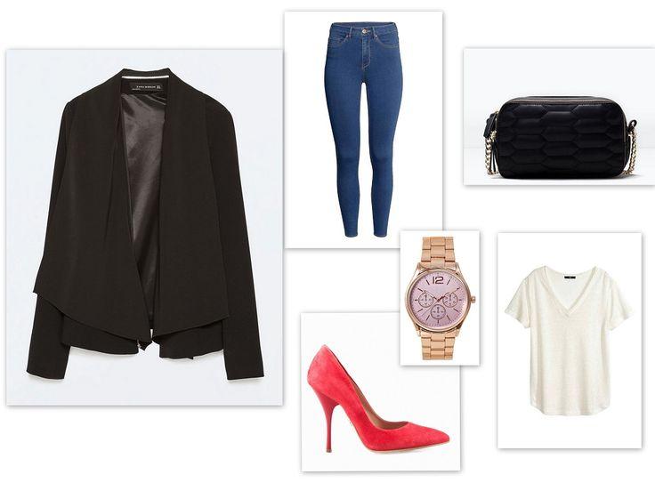 Najlepszy #zestaw do pracy to połączenie wygody i elegancji. Klasyczne jeansy i biały t-shirt z H&M ożywią malinowe szpilki #Conhpol Woman i stylowa, czarna marynarka z Zary.  Zestaw: Marynarka - Zara T-shirt - H&M Spodnie - H&M Szpilki - Conhpol Woman Torebka - Zara Zegarek - Bijou Brigitte