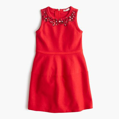 Our crewcuts designers know what makes an awesome holiday dress: Winter-weight fabric (our sturdy cotton ponte), festive colors (hello, candy apple red!) and a little bit of sparkle. A-line silhouette.Falls above knee. Cotton.