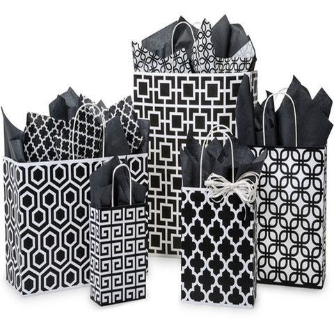 Paper Shopping Bags Printed Geo Graphic - with White Twine Handles – B2BWraps.com