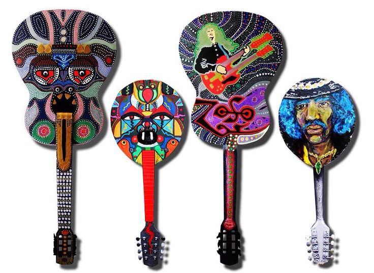 Guitar God and Mini-Me-Mandolin created by artist Kevin Bohan for the Musical Youth Foundation