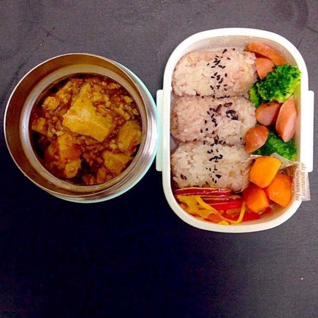 麻婆豆腐 パプリカのマリネ ブロッコリーの中華炒め 人参のグラッセ 雑穀ごはんのおにぎり - 13件のもぐもぐ - 麻婆豆腐弁当 by szshd