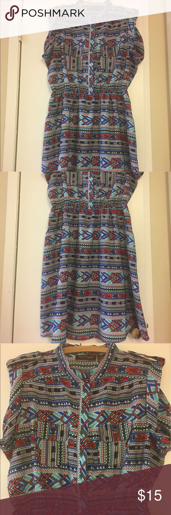 Speed Control Aztec Dress💕 Speed Control Brand. Multi color Aztec button up print dress. Light material. Does not stretch. Two button front pockets and two side pockets on the sides. About 41 inches in length overall. About 201/2 inches armpit to armpit. About 14 inches waist. Waist doesn't stretch much. Speed Control Dresses