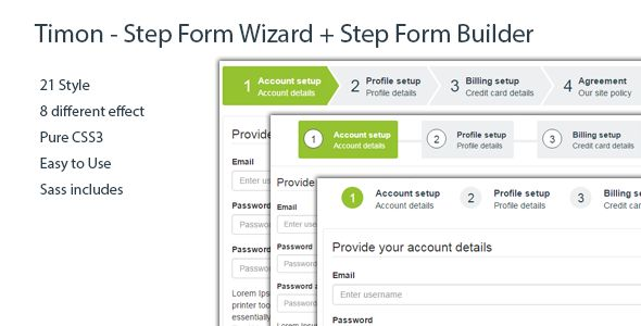 Timon - jQuery Step Form Wizard + jQuery Step Wizard Builder - https://codeholder.net/item/javascript/timon-step-form-wizard