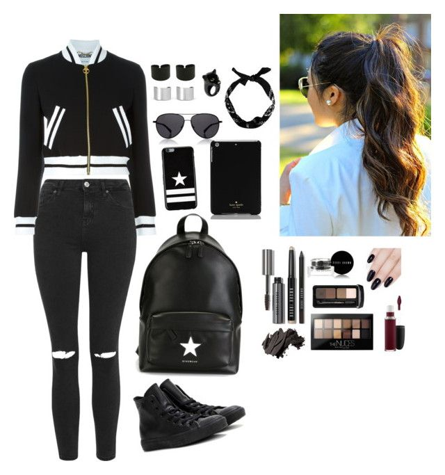 """Untitled #1"" by laviniasofia ❤ liked on Polyvore featuring Topshop, Moschino, Givenchy, Converse, The Row, Maison Margiela, Nach Bijoux, Bobbi Brown Cosmetics, ncLA and MAC Cosmetics"