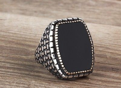 925K Sterling Silver Gemstone Man Ring With Natural Onyx Stone All Sizes