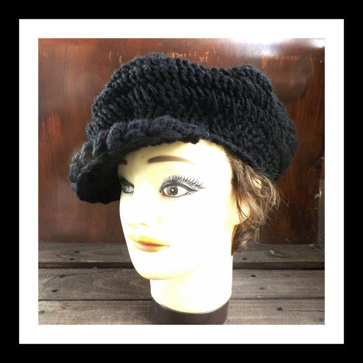 Crochet Hat Womens Hat ANNIE Crochet Newsboy Hat Brimmed Beanie Hat Black Hat by strawberrycouture on Etsy 35.00 USD