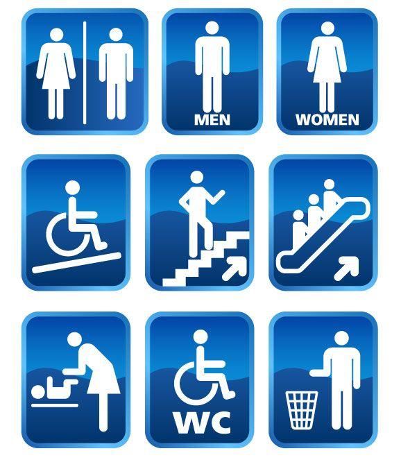 Vectores para Señaletica, baños, escaleras y más | Puerto Pixel | Recursos de Diseño
