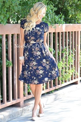 The Cassie in Navy Floral! We love the subtle mauve pink in the flowers