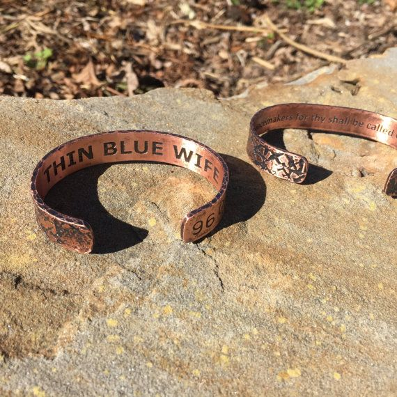 Thin Blue Line Bracelet Set for Wife and by SiblingRivalryArt