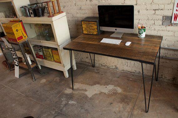 Reclaimed Pine & Steel Hairpin Desk
