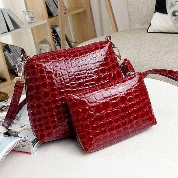 Fashion Womens Artificial Leather Embossed Messenger Bags 2pcs/set Clutch Shoulder/Hand Bag