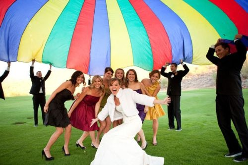 Parachute wedding photo | Radiant Photography by the Chansons