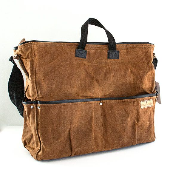Waxed Canvas Messenger Bag Large diaper bag by WhaChaMaDoodles