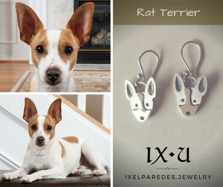 Rat Terrier Aretes en Plata .950  Precio: $150 MXN