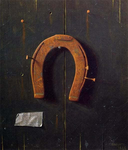 The Golden Horseshoe, 1886 by William Michael Harnett. Realism. still life, trompe-l'œil