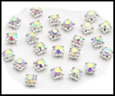 15 petits strass sertis couleur cristal AB 4 mm / strass à coudre