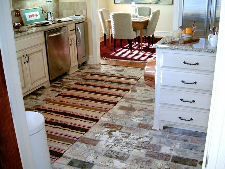 Superior Kitchen. Vintage Grey Tile Kitchen Flooring Beautified With Rug And Brown  White Wooden Furniture