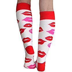 Chrissy's Socks Women's Lips Socks 7-11 Valentine's Day gift idea White / Red / Pink