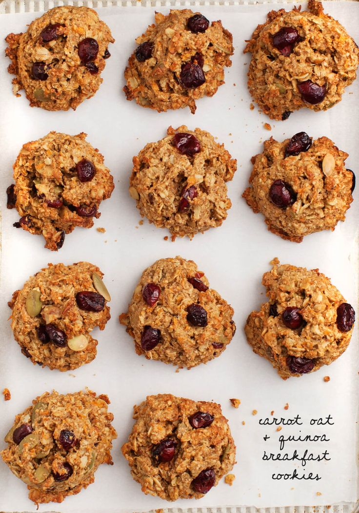Carrot Quinoa Oatmeal Breakfast Cookies - A healthy, quick breakfast or lunchbox snack! Vegan & gluten free.