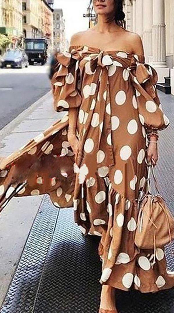 Hot Sale>>Off-shoulder Polka Dot Maxi Dress For Women 3