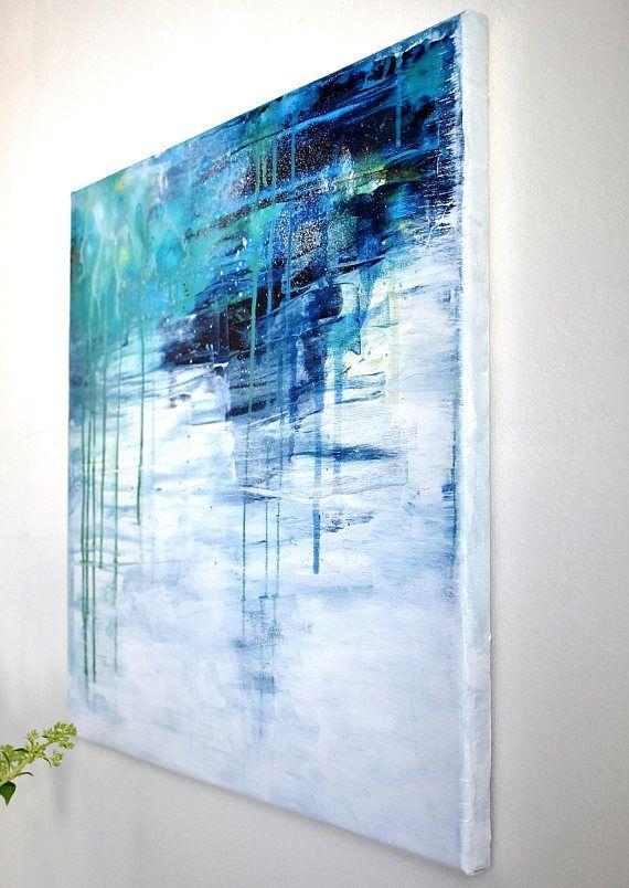 abstract painting original acrylic on canvas art modern blue green white pale light drizzly abstrakte malerei kunst gemalde berühmte künstler moderne bilder