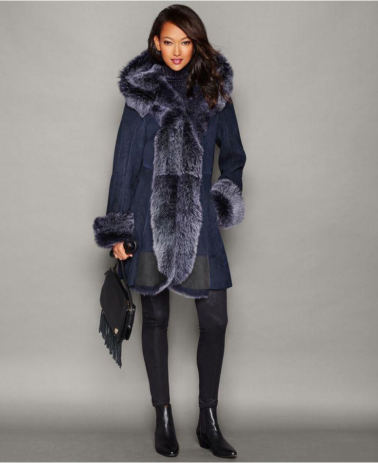 The Fur Vault Hooded Shearling Lamb Coat - Coats - Women - Macy's