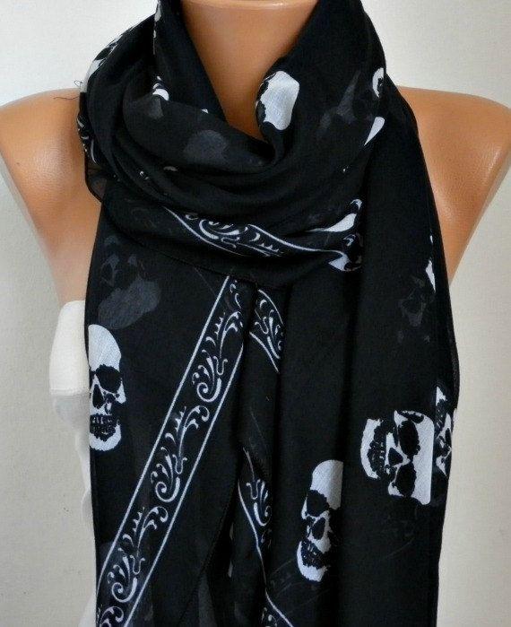 Skull Scarf  Cotton Scarf Shawl Bridesmaid by fatwoman,