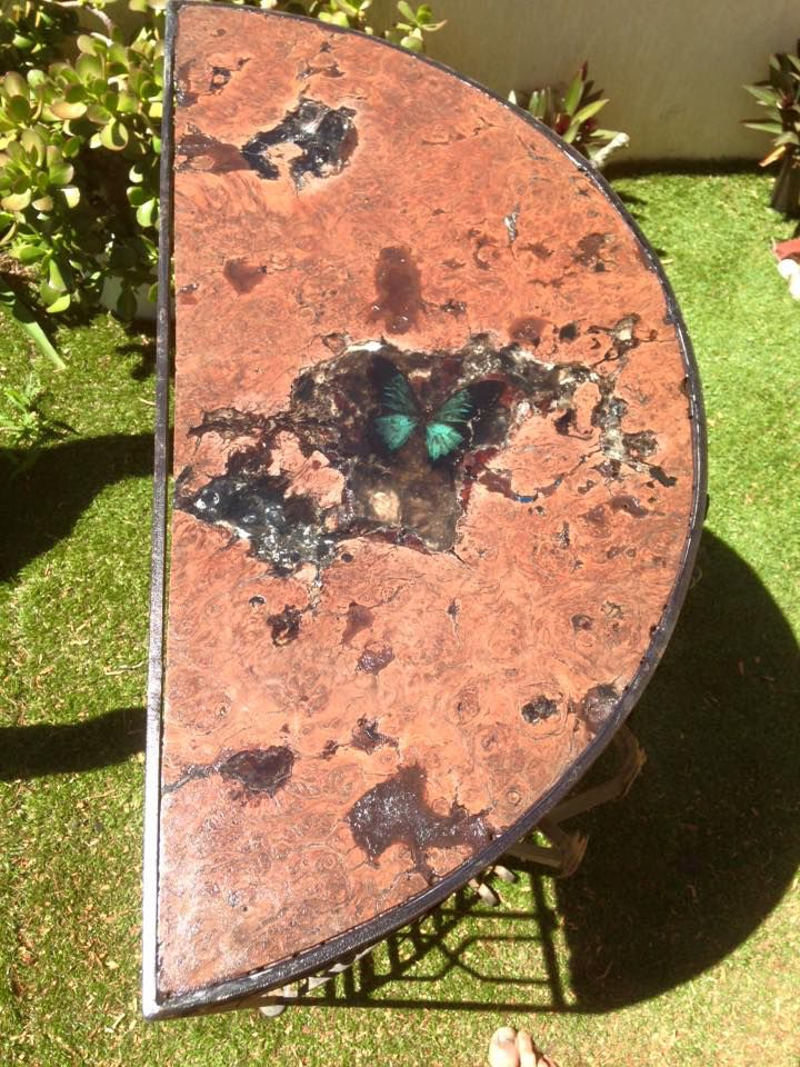 Hallstand jarrah with real butterfly in resin