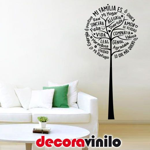 Detalles de vinilo decorativo pegatina pared rbol mi familia amor frase 58x125cm casa hogar amor - Vinilo welcome ...