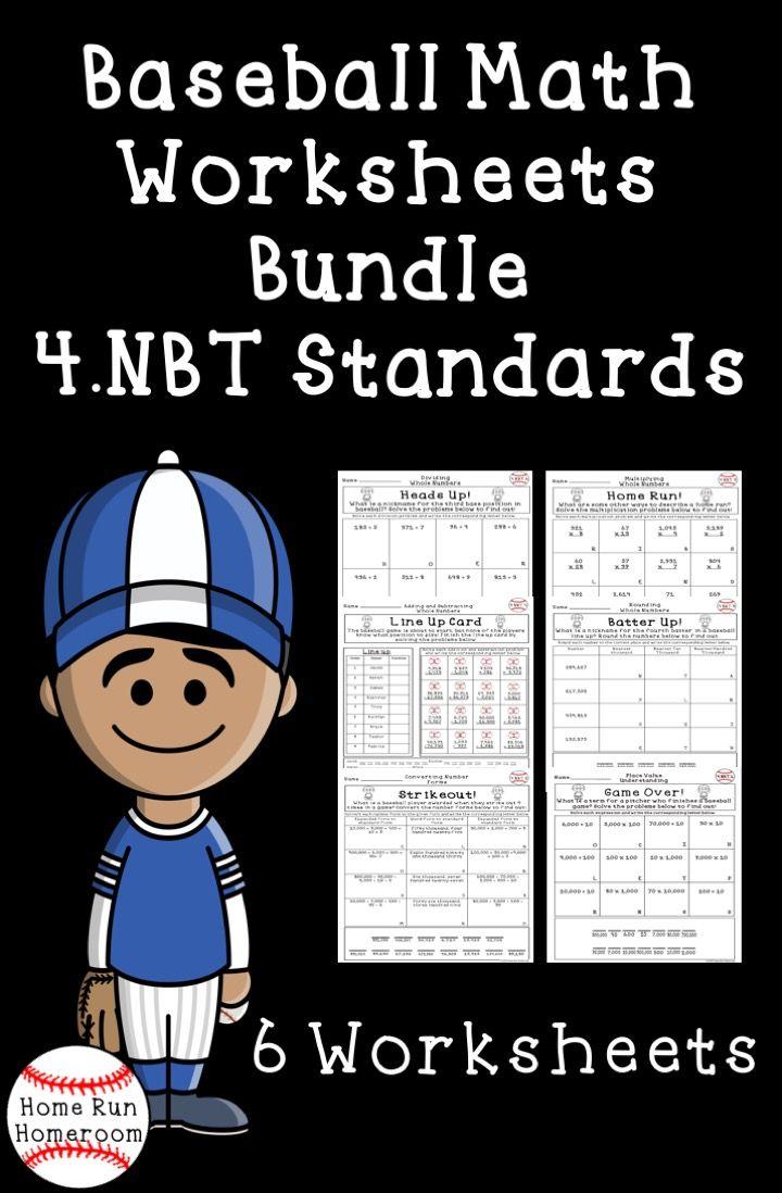4 Nbt Standards Worksheets Bundle Fourth Grade Baseball Themed Elementary Math Lessons Fourth Grade Math Common Core Math Standards [ 1098 x 720 Pixel ]