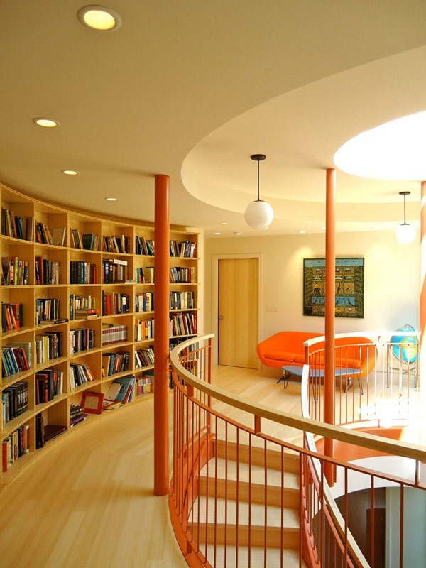Polaris residence (13): Libraries, American Architecture, Favorite Interiors, Design Ideas, Polaris Houses, Design Interiors, Houses Ideas, Modern Houses, Curves Bookca