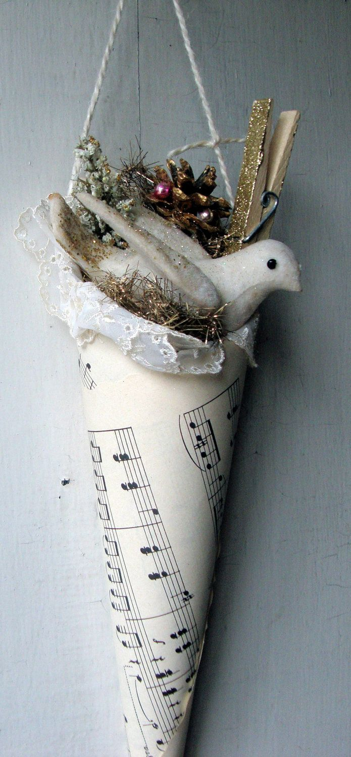 Sheet music christmas ornaments - Vintage Dove Cone With Vintage Sheet Music