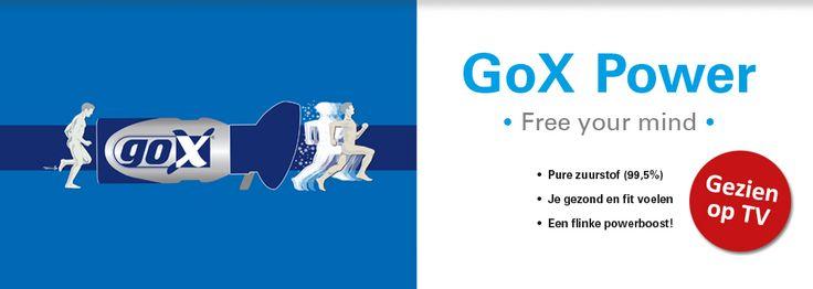 GoX Power bevat geconcentreerde zuurstof (O2) dat door middel van een praktisch mondkapje makkelijk geïnhaleerd kan worden. Elke inhalatie voorziet het lichaam tijdelijk van extra zuurstof en dit geeft extra energie.  De pure zuurstof geeft een fitter gevoel vergelijkbaar met een boswandeling van anderhalf uur of wekelijks sporten.