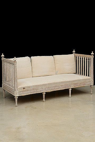 Antique Swedish Distressed Painted Daybed