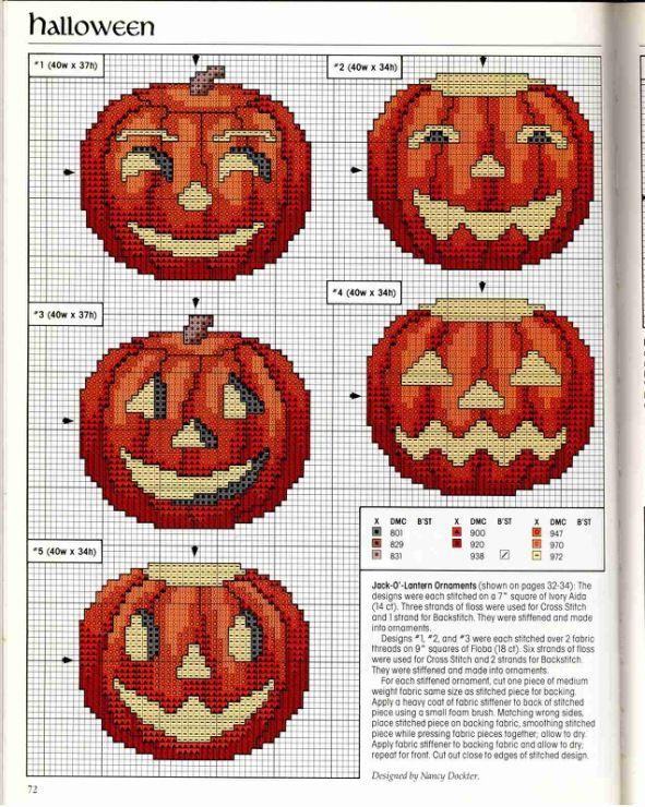 Cute Halloween jack-o-lanterns cross stitch patterns. #Halloween #cross_stitch #patterns