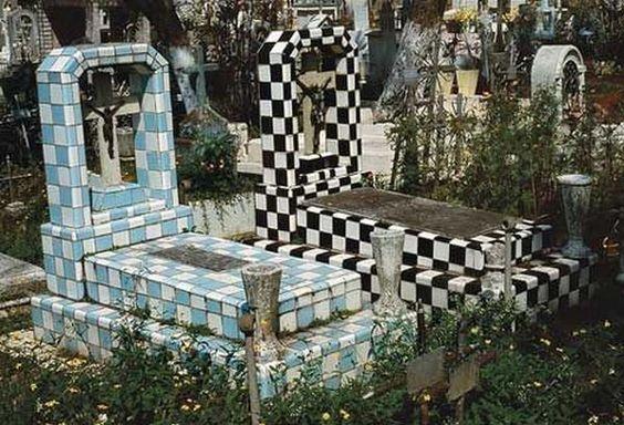 Tiled gravestones: