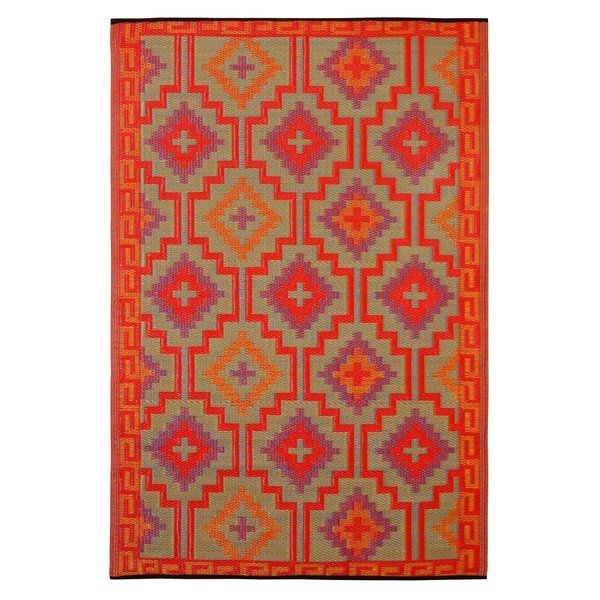 Patterson Square Red Indoor Outdoor Area Rug Contemporary