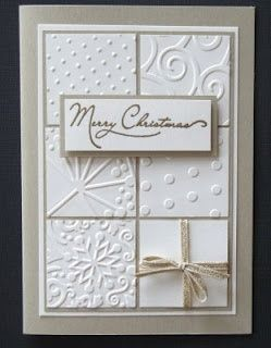 simple elegant homemade christmas cards | Embossed squares Christmas card, great idea...simple and elegant