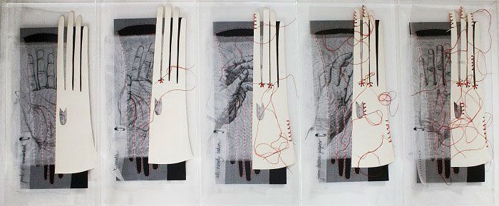 Textile Art - sequence of layered gloves and drawings in a perspex drawer. Mixed media art made from leather, linen, thread, paper & cotton // Sarah Burgess, textiles artist