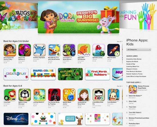 Apple has launched its dedicated Kids category on the App