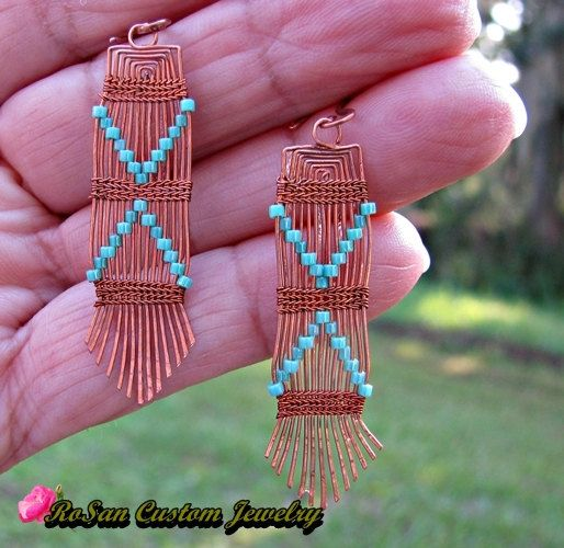 Turquoise Copper Woven Wire Earrings, Turquoise earrings,Copper earrings,Earrings for women,Earrings for teens