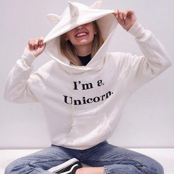 "White ""I'm a Unicorn"" Pockets Drawstring Cute Hooded Sweatershirt"
