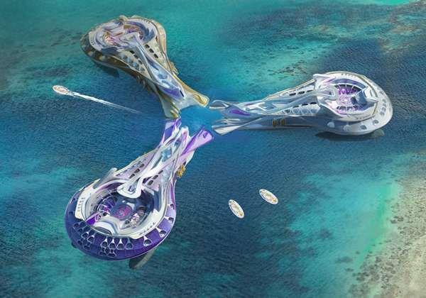 Floating Futuristic Hotel Designs  Philip Kuzevski's 'Three Spirits' Concept is Daring