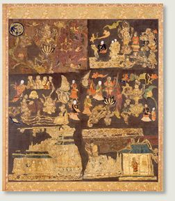 日本最古の刺繍遺品として知られる「天寿国曼荼羅繍帳」は、推古天皇三十年(622)、聖徳太子の妃である橘大郎女が、太子薨去ののち、図像をつくって太子往生の姿をお偲びしたいと、宮中の采女に命じて、太子が往生なされている天寿国のありさまを刺繍せしめられたものです。  もとは繍帳二帳よりなり、そこには百個の亀甲が刺繍され、亀の甲には一個に四字ずつ、都合四百文字で繍帳造顕の由来が示されていました。幸いその銘文の全文が『上宮聖徳法王帝説』という本に書き留められており、それによりますと、絵を描いたのは東漢末賢、高麗加世○、漢奴加己利、 これを監督したのは椋部秦久麻でした。 年を経るにつれて曼荼羅は破損し、現存するものは往時のほんの一部にすぎませんが、紫羅の上に、白・赤・黄・青・緑・紫・樺色などのより糸 をもって伏縫の刺繍が施された繍帳は、今なお目覚めるように鮮麗な色彩を残しており、七世紀中葉の染色技術、服装、仏教信仰などを知るうえでまことに尊い貴重な遺品といえましょう。 (現在、本堂に安置されているものはレプリカで、実物は奈良国立博物館に寄託されております。)