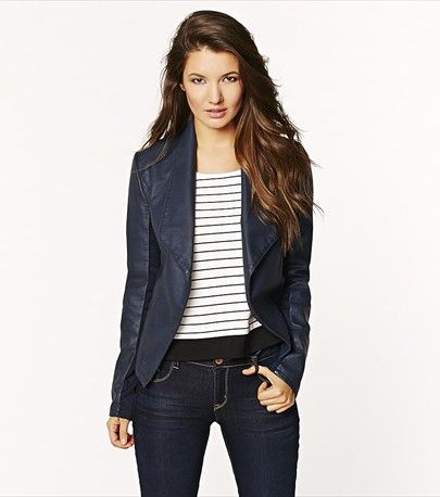Faux Leather Blazer with Rib Inserts