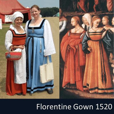 The florentine gown is a style of dress worn by women in Florence Italy from 1500-1525. The square n...
